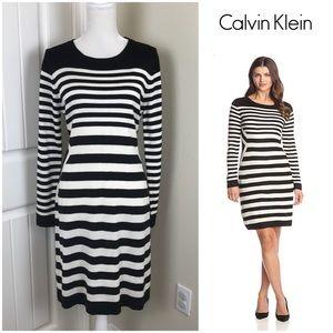 Calvin Klein Sweater Striped Dress SZ Large